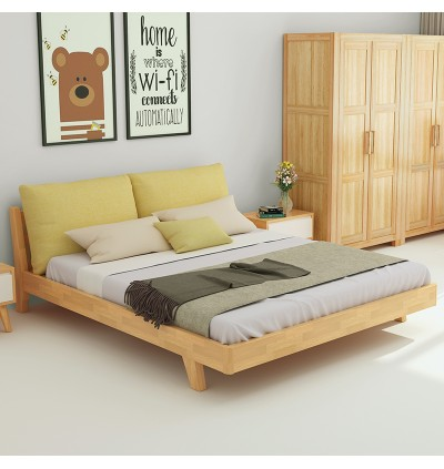 Solid wood bed double